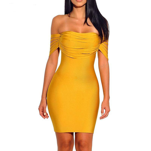 High Quality Yellow Fringe Sexy Off Shoulder Bandage Dress Party - eileenshoppingdeals