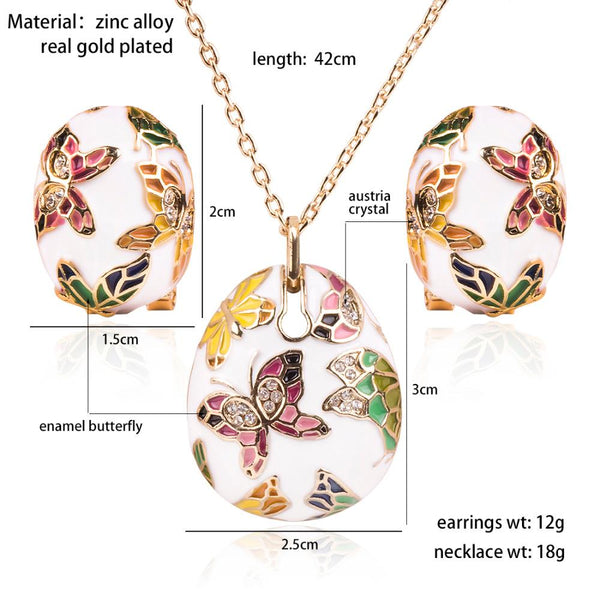 Olsen Twins Dropshipping Colorful Enamel Rhinestone Butterfly Pendant Necklace Wholesale - eileenshoppingdeals