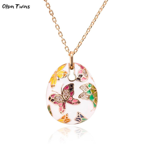 Olsen Twins Dropshipping Colorful Enamel Rhinestone Butterfly Pendant Necklace Wholesale