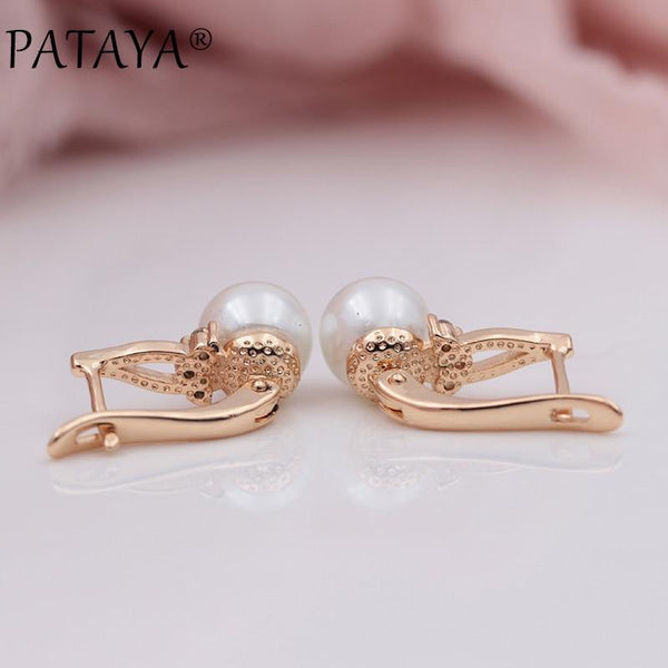 585 Rose Gold Natural Zircon Imitation Pearl Dangle Earrings Women - eileenshoppingdeals