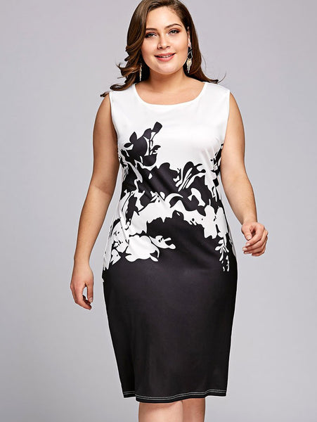 PlusMiss Plus Size 5XL Summer 2018 Floral Print Sleeveless Pencil Dress - eileenshoppingdeals
