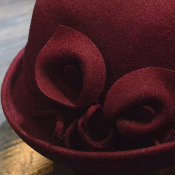Autumn Winter Wool Hats For Women Formal Floral Felt Hat Elegant - eileenshoppingdeals