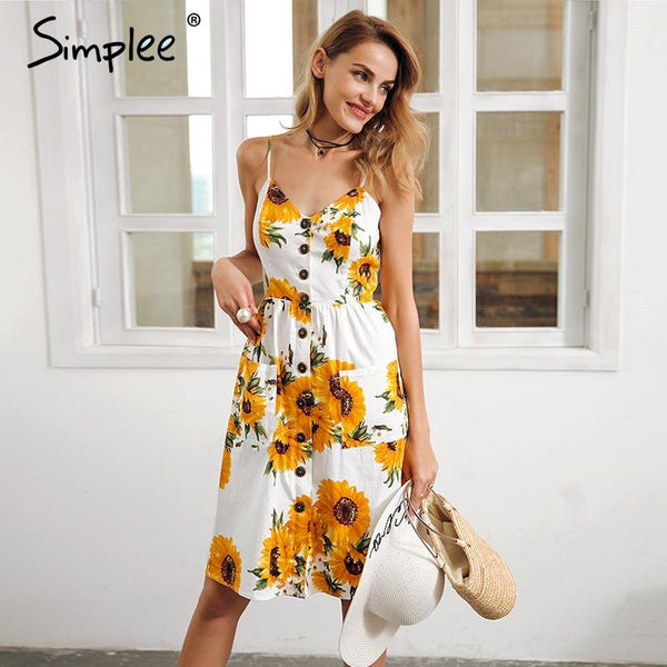 women Sunflower print backless casual dress vestidos Smocking high waist midi dress female - eileenshoppingdeals