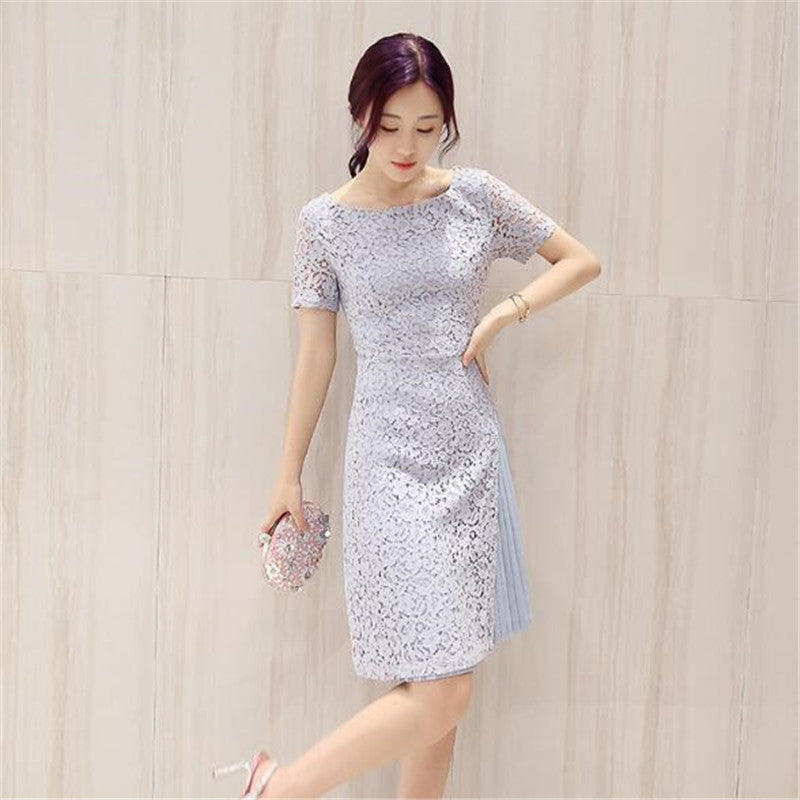 ad0646fbdab Summer Style Short Sleeve Midi Fashion Lace Chiffon Patchwork Women Office  Daily Vestido Lady Dress A ...