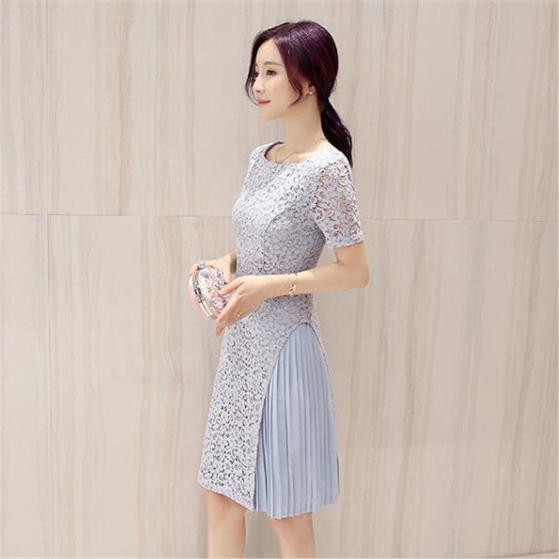 74a286399fd ... Summer Style Short Sleeve Midi Fashion Lace Chiffon Patchwork Women  Office Daily Vestido Lady Dress A ...
