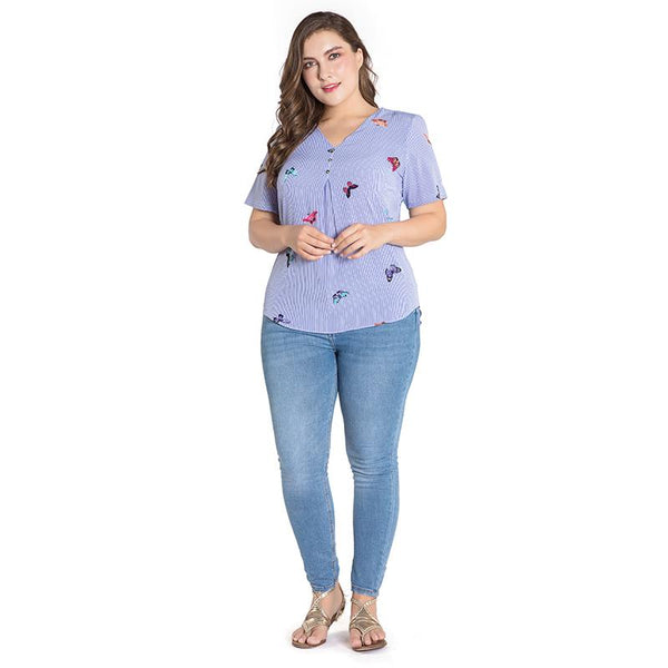 YTL Plus Size Womens Tops and Blouses Summer Short Sleeve Stripe Top Embroidery Butterfly Button V Neck Blouse Shirt 3XL 4XL Z5 - eileenshoppingdeals