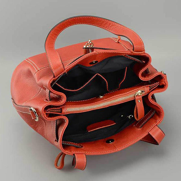 100% Genuine Leather Charm Orange Women Shoulder Bag Fashion Lady Messenger Handbag Lock Decoration bolso hombro mujeres - eileenshoppingdeals