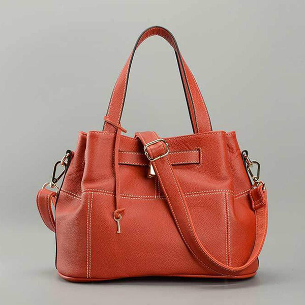 100% Genuine Leather Charm Orange Women Shoulder Bag - eileenshoppingdeals