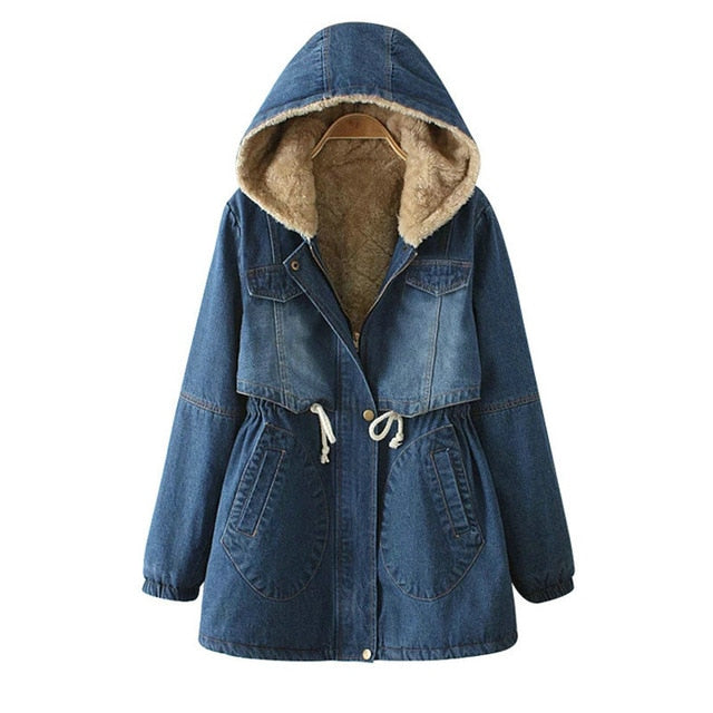Women Denim Winter Coat 2019 Casual Loose Print Patchwork Plus - eileenshoppingdeals