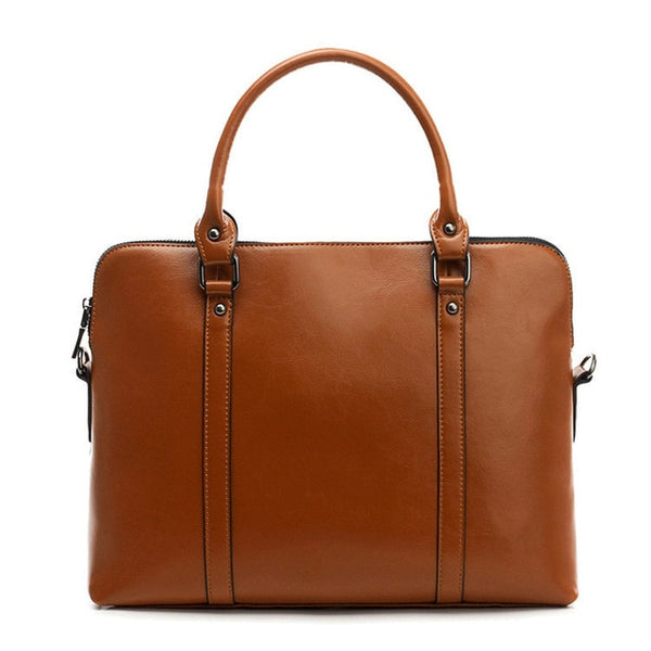 100% Genuine Leather Briefcase For Woman, 14 inch Laptop Bag Women's - eileenshoppingdeals