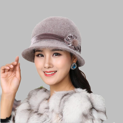 Autumn Winter Fedora Rabbit Fur Hat for Women Fashion Casual Cap Solid Colors Gorros Cap Women's Hats Chapeau Femme Warm hat - eileenshoppingdeals