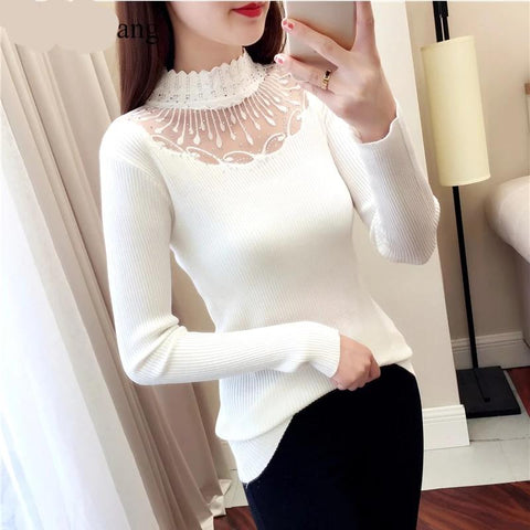 2019 Lace Turtleneck pullovers Sexy sweaters Hollow out winter Ladies White sweater elasticity Bodycon Basic Long Sleeve sweater - eileenshoppingdeals