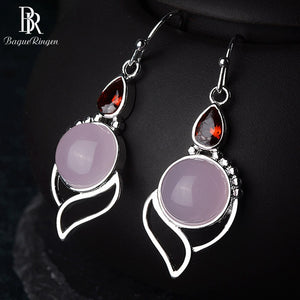 100% Real Silver 925 Drop Earrings With Round Rose Quartz Gemstone Ruby