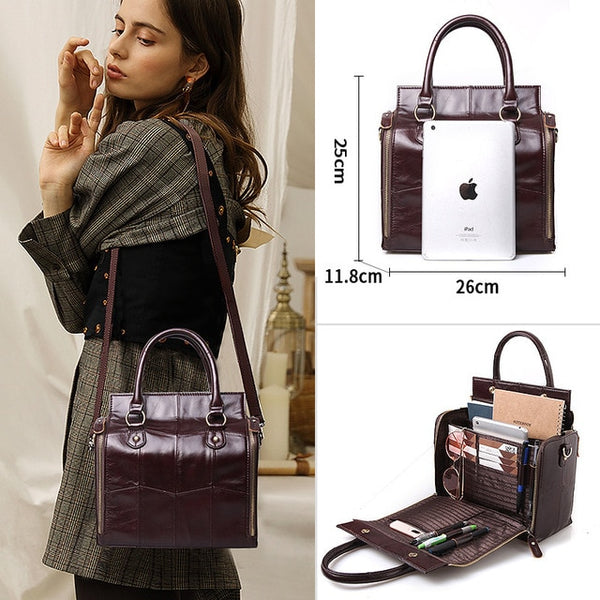 Multifunctional Large Genuine Leather Handbag Roomy Organizer Shoulder - eileenshoppingdeals