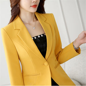 2019 Women Blazer spring autumn Long Sleeve Blazers Notched Collar One Button - eileenshoppingdeals