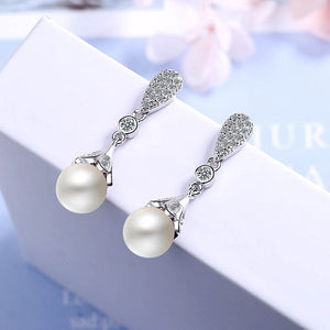 925 Silver drop Earrings for Woman with 10mm round  shape pearl  Earrings