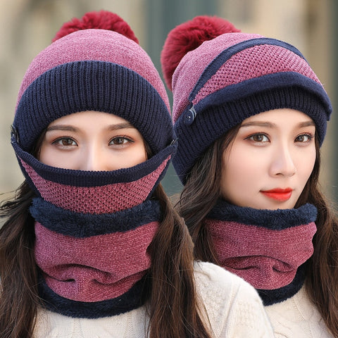 Brand New Beanies Hat Women Sets 3 Knit Skullies Hats With Bib Mask