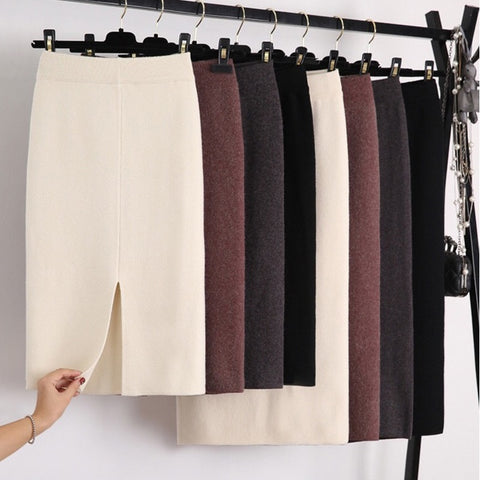 Wool Blend Split Mid Knitted Skirt Cashmere, Slim Mid-calf Knit Skirts 2 Length 4 Colors - eileenshoppingdeals