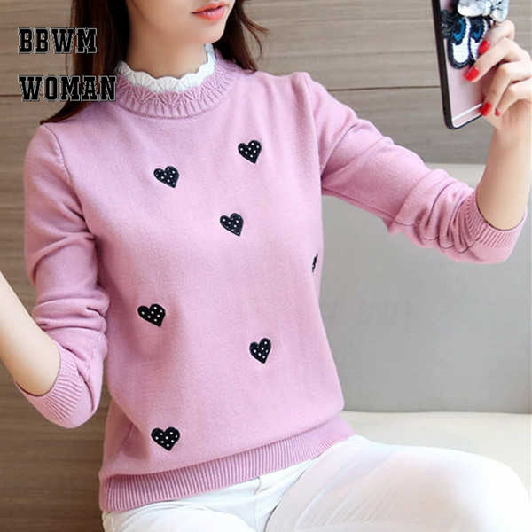 Embroidery Loose Sweaters Winter New Lovely Heart Pink Long Sleeve - eileenshoppingdeals