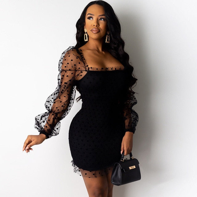 Mesh Dot Bodycon Dress Black Hollow Out Women Dress Lace Spring Summer