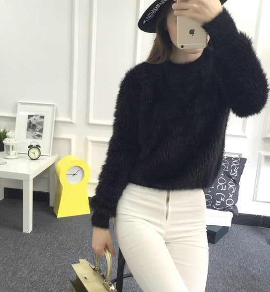 2016 New Winter Casual Sweater Women Long Sleeve Loose Thick  Turtleneck Pullovers  Female Solid Mohair Ladies' Sweater Coat