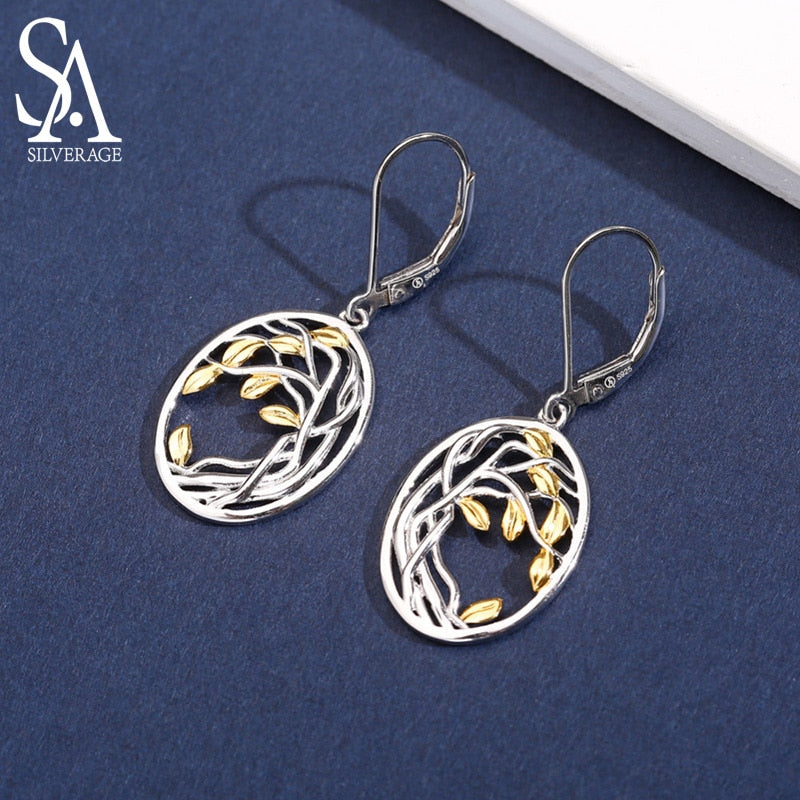 925 Sterling Silver Tree of Life Drop Earrings for Woman 925 Silver Long Women Earrings Yellow Gold Color Brincos