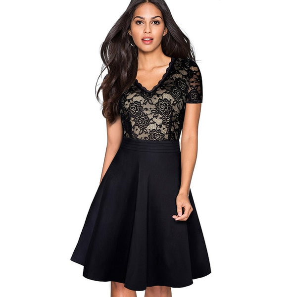 See Through Sleeve A-Line Pinup Business Women Flare Dress