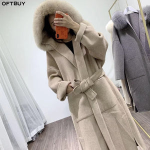 OFTBUY 2020 Real Fur Coat Winter Jacket Women Natural Fox Fur Collar Hood Cashmere Wool Blends x-Long Outerwear Streetwear Korea