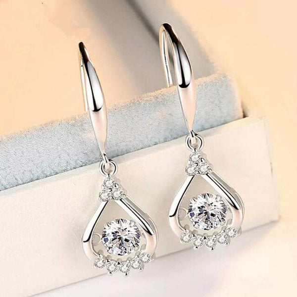 Fashion 925 Sterling Silver Zircon Drop Earrings