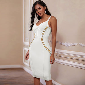 2020 New Arrival Chain Embellished Women White Bandage Dress Bodycon - eileenshoppingdeals