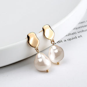 Silvology 925 Sterling Silver Baroque Pearl Earings Champagne Gold Elegant Water Drop French Earrings for Women Palace Jewelry