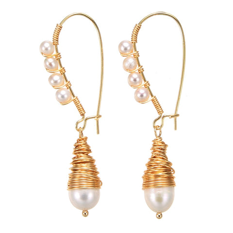 Coeufuedy Handmade Creativity Pearl Earring Real freshwater pearl earrings