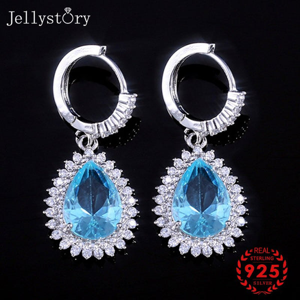 925 Silver Jewellery Earrings with Water Drop Shaped Sapphire Gemstones
