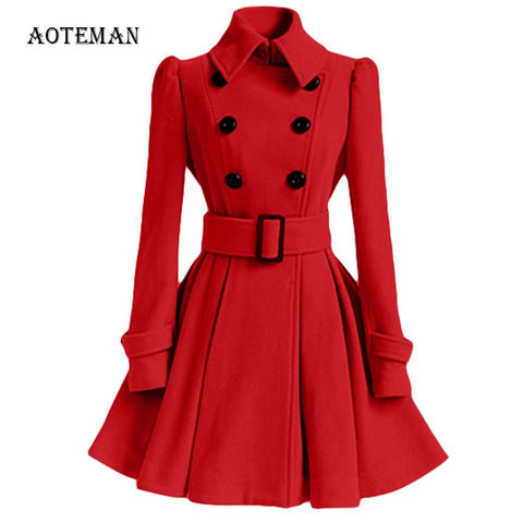 Autumn Winter Coat Women 2020 Vintage Slim Double Breasted Woolen Jackets