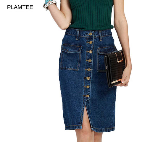 Jean Skirt with Double Pocket Split, Solid Denim above Knee. - eileenshoppingdeals