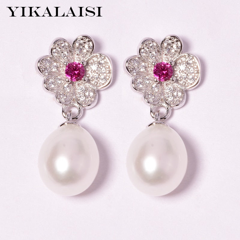 925 Sterling Silver Natural Freshwater Pearl  Earrings Jewelry For Women 8-9mm Drop