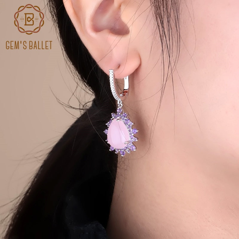 925 Sterling Silver Vintage Drop Earrings Natural Pink Chalcedony Gemstoney