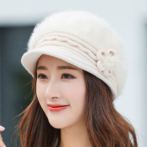 women Wool knitted hat for mom Rabbit fur beret
