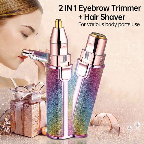 2 In 1 Electric Eyebrow Trimmer Makeup Painless Eye Brow Epilator For Women Shaver Razors Mini Portable Facial Hair Remover