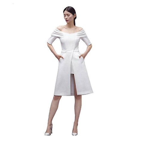 Autumn Elegant Women Dress Party Dress Off Shoulder Short Sleeve White Black Red Irregular Midi Dress