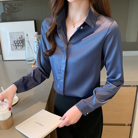 Korean Style Silk Women Shirt Satin Solid Womens Tops and Blouses