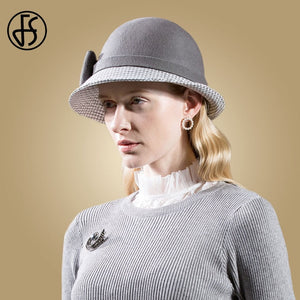 Elegant Ladies Wide Brim Bowler Ladies Cap Bow Church Caps