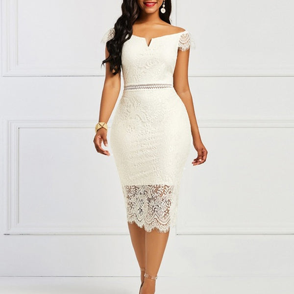 Sexy Women Dress Lace Hollow Backless Elegant Party Chic Retro Dress Black White Lace Dresses Plus Size 2021 New