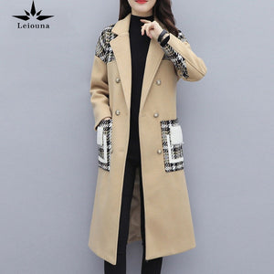 Leiouna Full X-Long Slim Casual 2020 Fashion Women's Woolen Coat Autumn Winter Double Breasted Wool Warm Jacket Female Overcoat