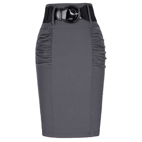 Pencil Skirt with belt. Elastic high waist  with slim fit. - eileenshoppingdeals