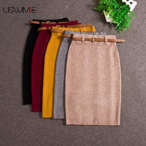 Autumn Winter Casual Women High Waist Knee-length Knitted Pencil Skirt - eileenshoppingdeals