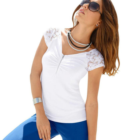 Fashion Women Blouse White Lace Splice Zipper Shirt  Girls Shirt Summer Blouse #LSIW