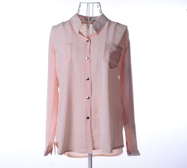 Women blouse solid color with long sleeves and collar. - eileenshoppingdeals