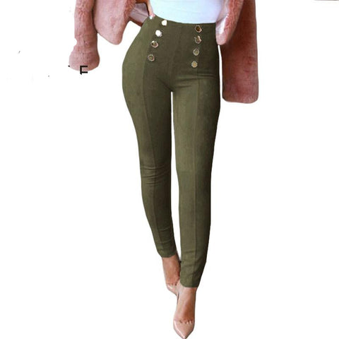 Winter Faux Suede Pants with Elastic Waist,Pencil Pant also plus size - eileenshoppingdeals