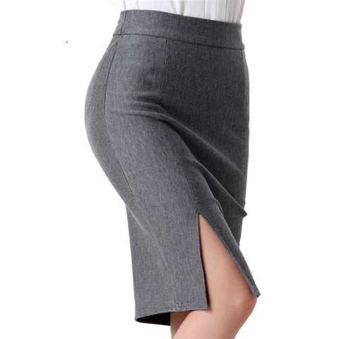FREE SHIPPING, Work Pencil Slim Skirt High Waist Package Hips Split Midi Women's Skirts  (16-35 days) - eileenshoppingdeals